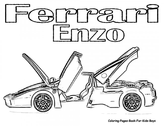 Free coloring and drawings Illustration Ferrari Enzo Coloring page