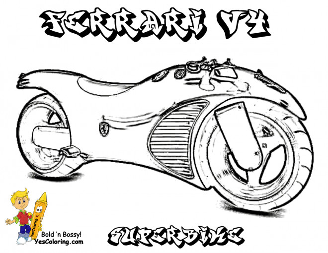Free coloring and drawings Moto Ferrari V4 Coloring page
