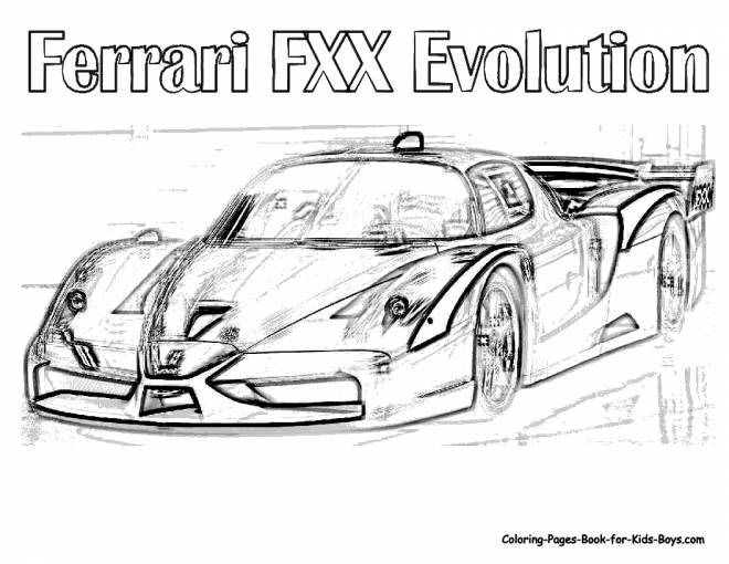 Free coloring and drawings Realistic Ferrari Evolution Coloring page