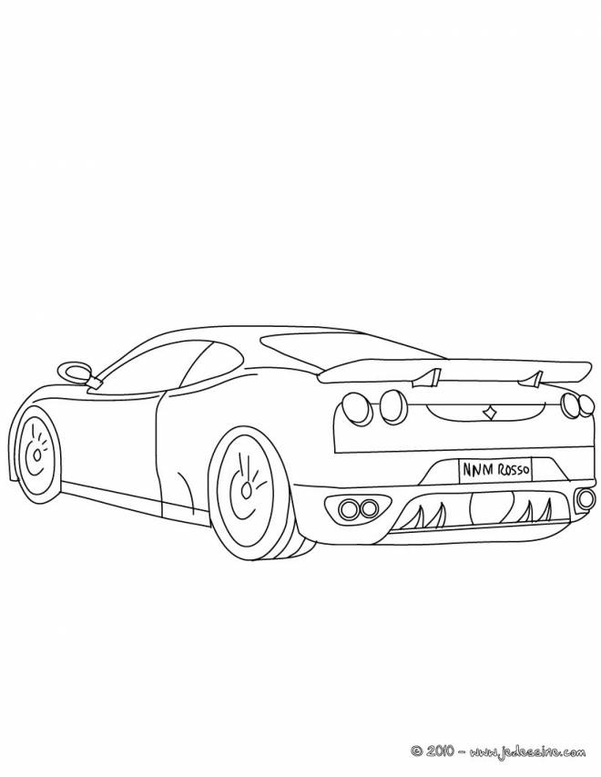 Free coloring and drawings Simple stylized Ferrari Coloring page