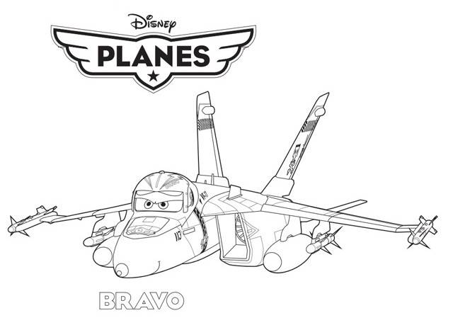 Free coloring and drawings Bravo cartoon fighter plane Coloring page
