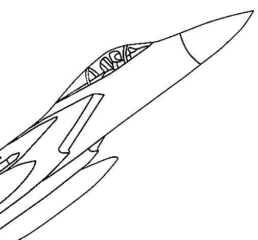 Free coloring and drawings Easy Fighter Plane Coloring page