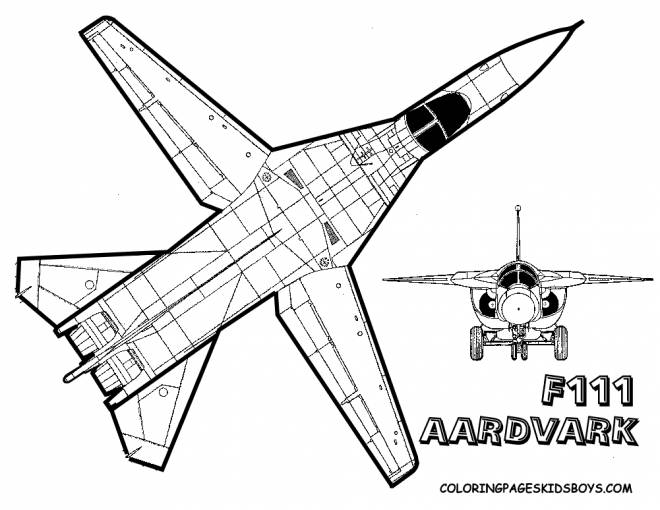 Free coloring and drawings F111 Fighter Plane Coloring page