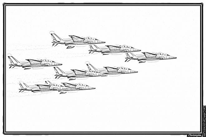 Free coloring and drawings Fighter Aircraft Squadron Coloring page