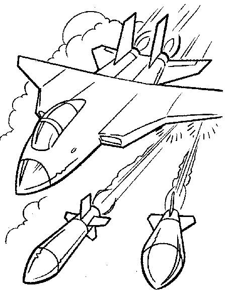 Free coloring and drawings Fighter plane fires missiles Coloring page