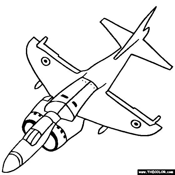 Free coloring and drawings Fighter plane in black Coloring page