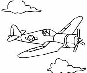 Coloring pages Fighter plane in pencil