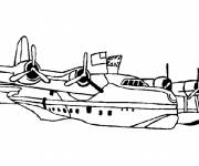 Coloring pages Fighter plane in the water