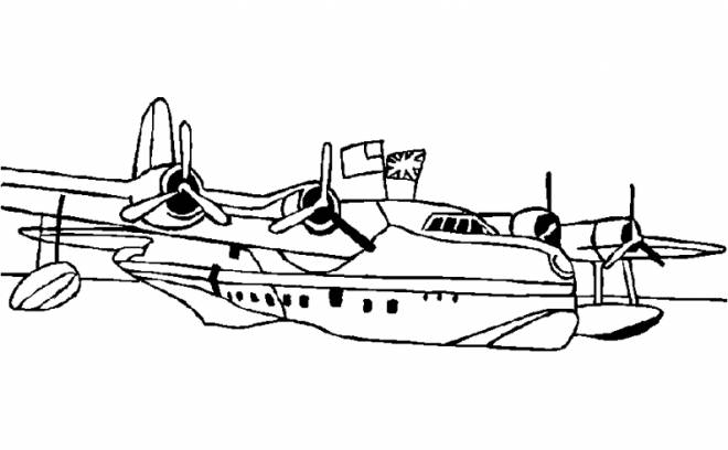 Free coloring and drawings Fighter plane in the water Coloring page