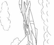 Coloring pages Fighter under the clouds