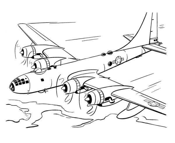 Free coloring and drawings Four engine airplane Coloring page