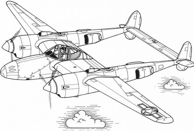 Free coloring and drawings Illustration of an old airplane Coloring page