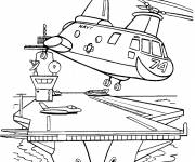 Coloring pages Military helicopter leaves the sea base
