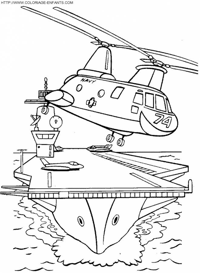 Free coloring and drawings Military helicopter leaves the sea base Coloring page
