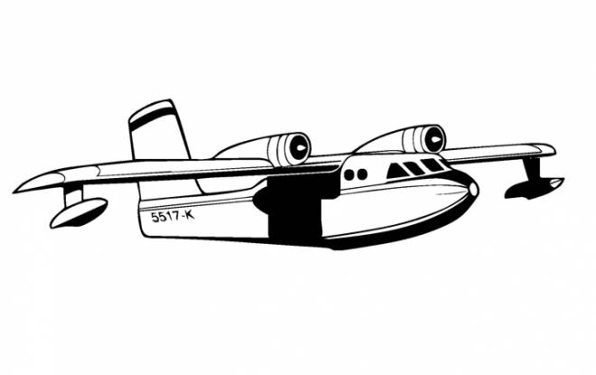 Free coloring and drawings Military plane in black and white Coloring page