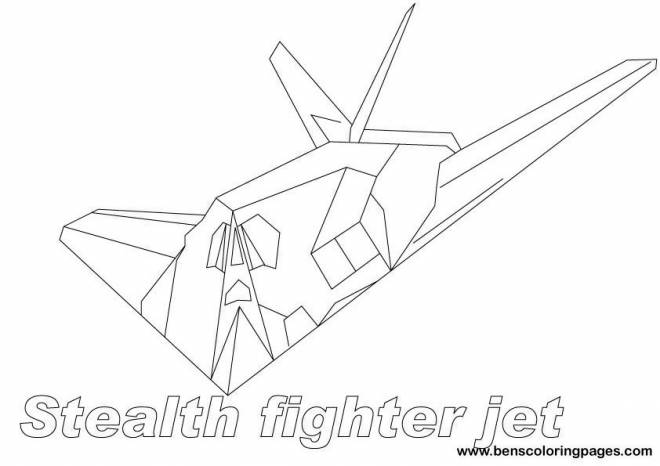 Free coloring and drawings Stealth Fighter Fighter Coloring page