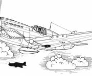 Coloring pages Tigershark Fighter Plane