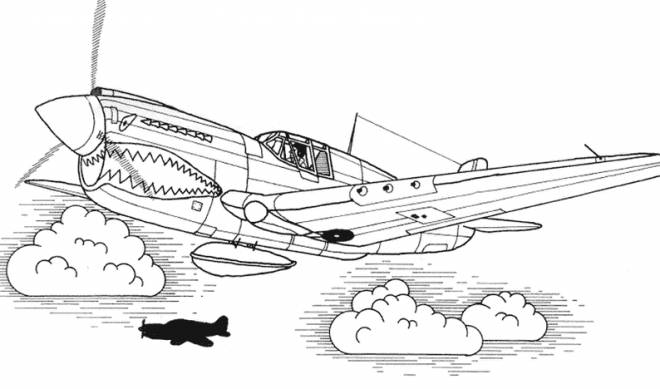 Free coloring and drawings Tigershark Fighter Plane Coloring page