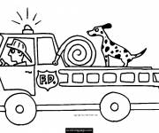Free coloring and drawings A dog on the fire truck Coloring page