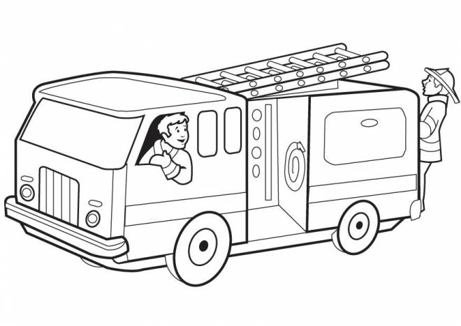 Free coloring and drawings A Truck and the Firemen Coloring page