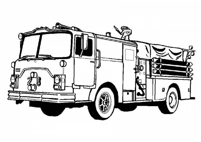 Free coloring and drawings American fire truck Coloring page