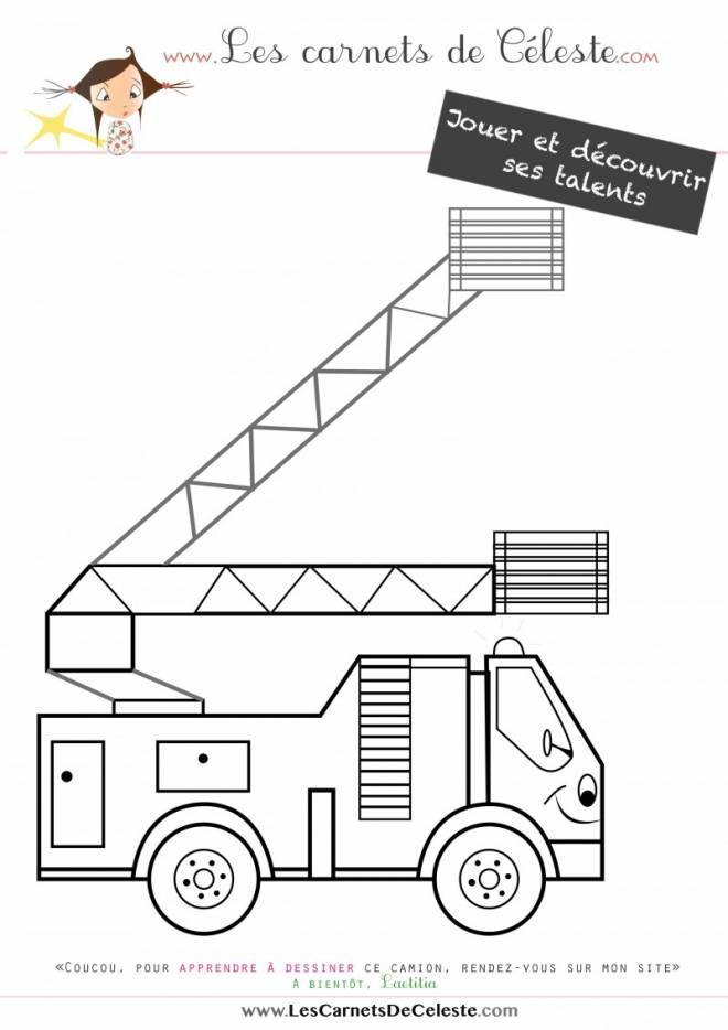Free coloring and drawings Children's fire truck Coloring page
