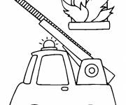 Coloring pages Fire truck and fire