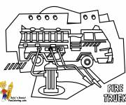 Coloring pages Fire truck and fire hoses