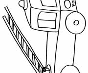 Coloring pages Fire truck and pencil ladder