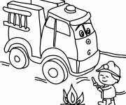 Coloring pages Fire truck and small child