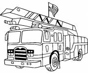 Free coloring and drawings Fire truck carries the American flag Coloring page