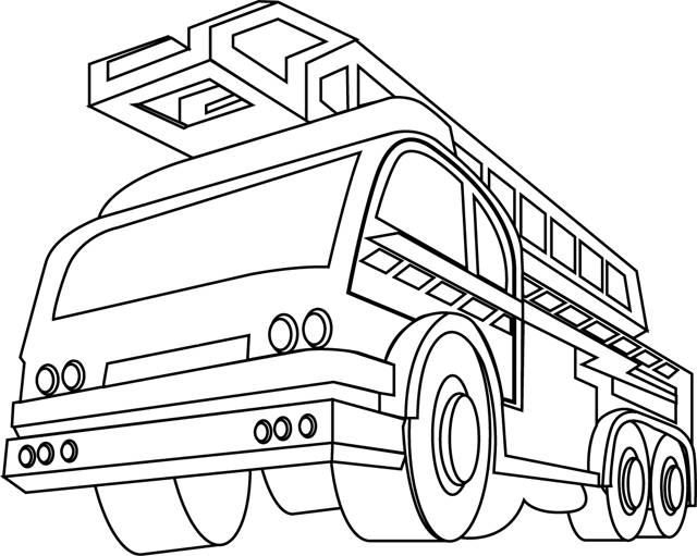Free coloring and drawings Fire truck front view Coloring page