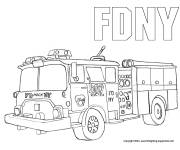 Coloring pages Fire truck image in pencil