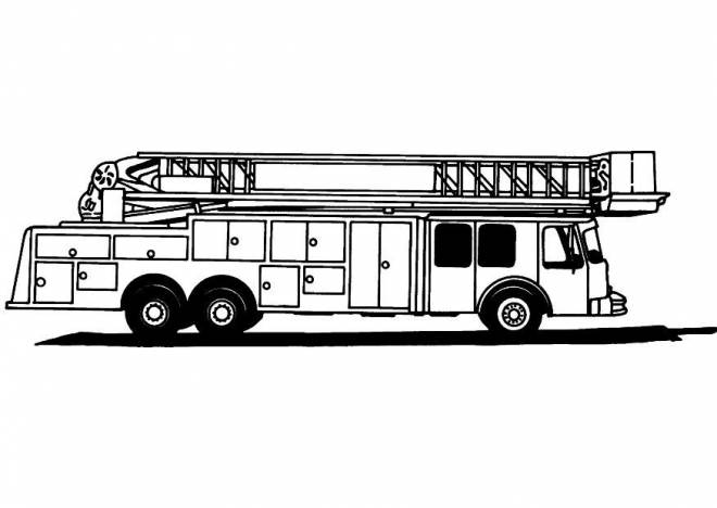 Free coloring and drawings Fire truck in black and white Coloring page