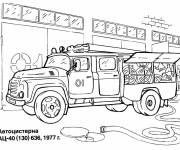 Coloring pages Fire truck in the garage