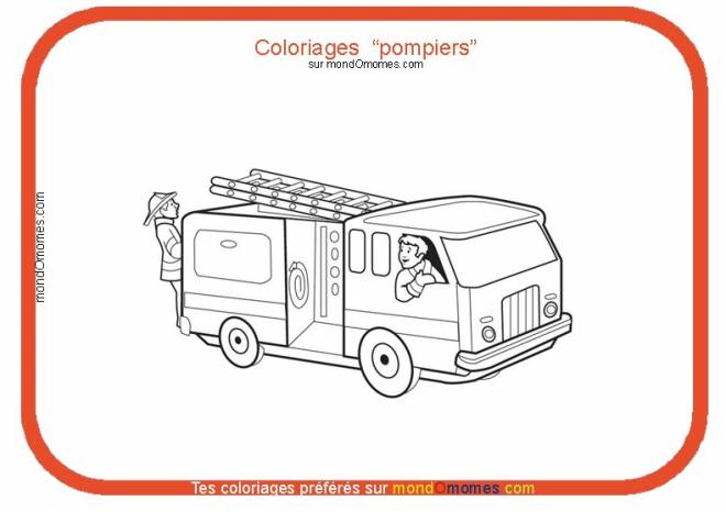 Free coloring and drawings Fire Truck Theme Coloring page