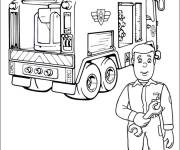 Coloring pages Fire truck under repair