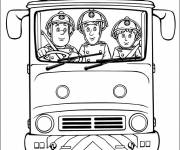 Free coloring and drawings Firefighters drive the truck Coloring page