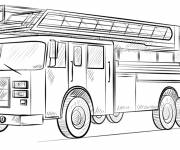 Free coloring and drawings Realistic fire truck Coloring page