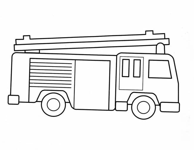 Free coloring and drawings Simple fire truck Coloring page