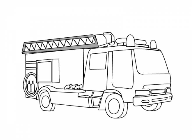 Free coloring and drawings Simplified fire truck Coloring page
