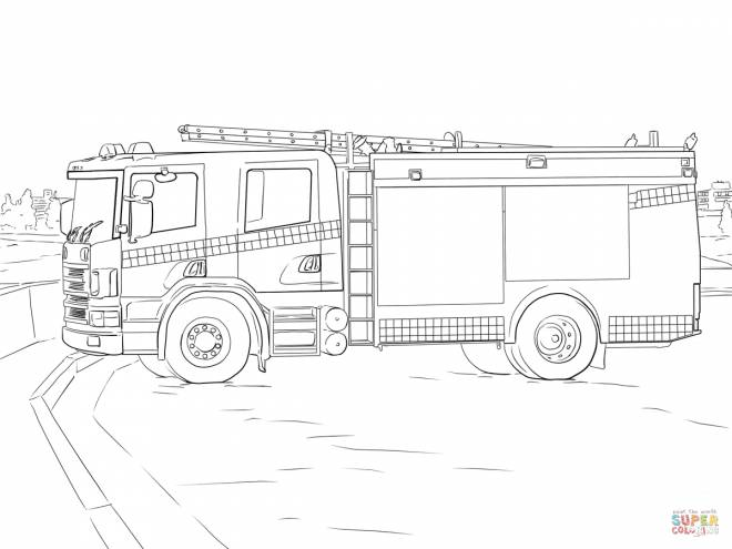 Free coloring and drawings Stylized cut out fire truck Coloring page