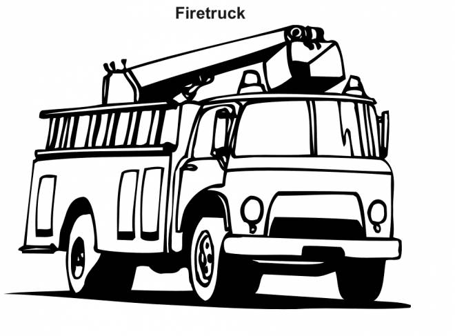 Free coloring and drawings Vector fire truck in black Coloring page