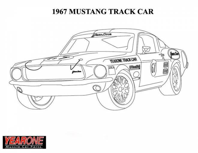 Free coloring and drawings 1967 Ford Mustang car Coloring page