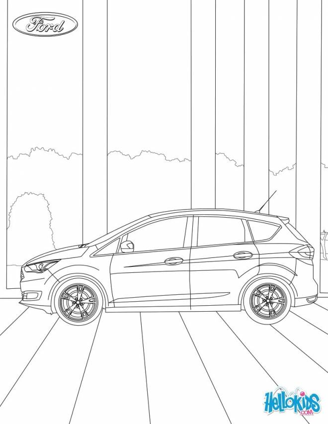 Free coloring and drawings Auto Ford Focus stylized Coloring page