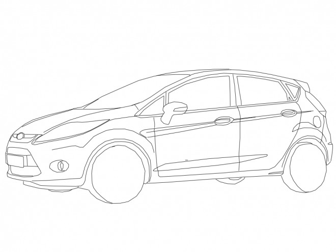 Free coloring and drawings Auto Ford simple Coloring page