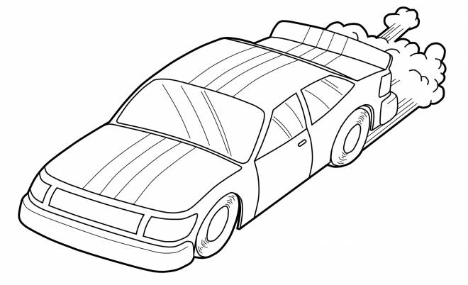 Free coloring and drawings Easy Ford Race Car Coloring page