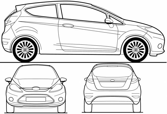 Free coloring and drawings Ford Fiesta car Coloring page