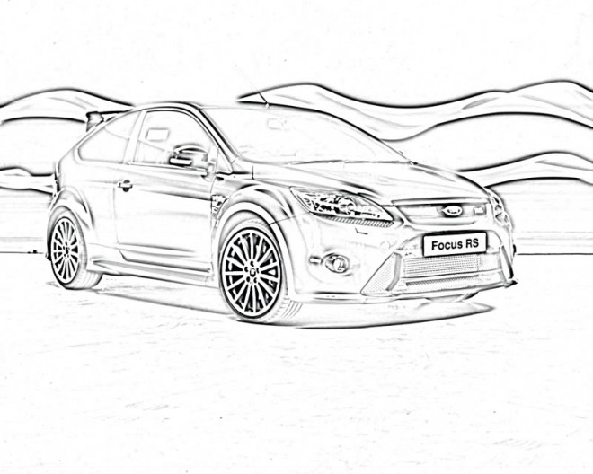 Free coloring and drawings Ford Focus RS Coloring page