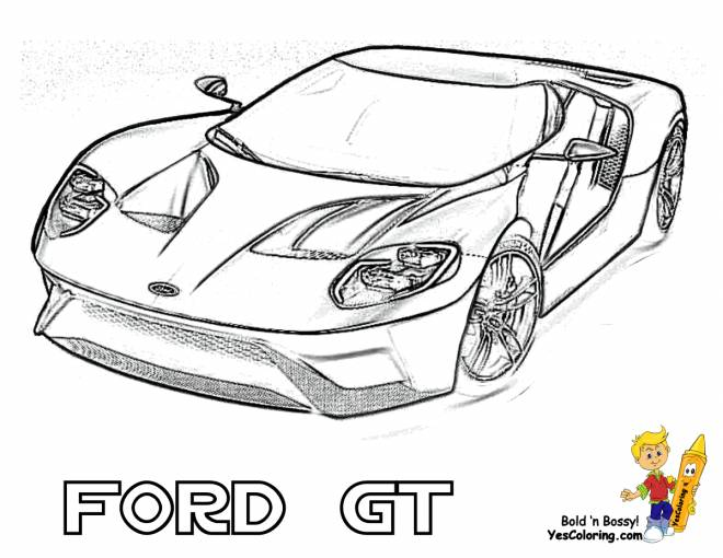 Free coloring and drawings Ford GT Sports Car Coloring page